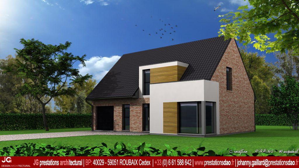 maison enduit brique bois moderne réalisé a Lille